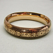 SALE Gold Filled Bangle Bracelet Etched Florals Sturdy Co