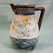 SALE Majolica Pottery Pitcher Butterfly Lip