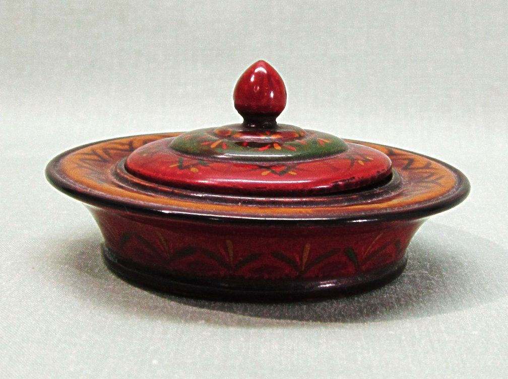 Japanese Lacquerware Small Trinket Box Round Handpainted