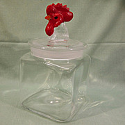 Glass Canister Red Rooster Finial Lid Small