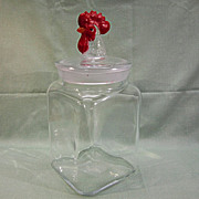 SALE Glass Canister Red Rooster Finial Lid Large