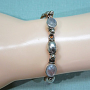 Sterling Silver and Moonstone Cabochon Bracelet