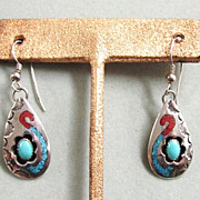 Navajo Sterling Silver Turquoise Earrings Circle JW