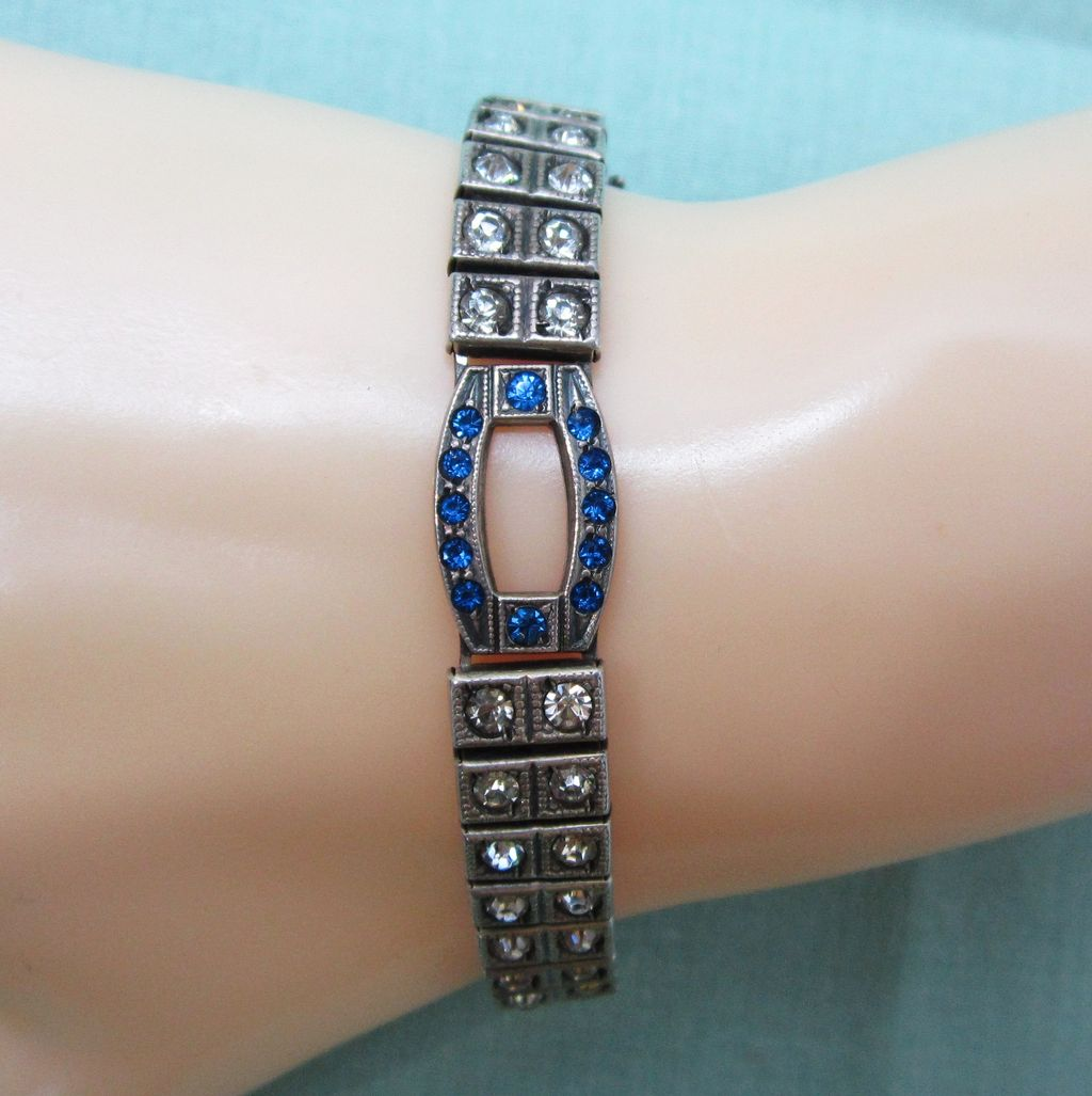 Sterling Silver Art Deco Blue Clear Rhinestone Bracelet Payco
