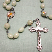 Catholic Vintage Glow in the Dark Rosary Large Beads