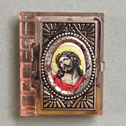 Vintage Glass Rosary Box Case Jesus Crowned with Thorns