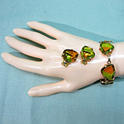 Judy Lee Givre Triangle Stone Bracelet and Earrings Green and Amber
