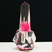 Lucite Back Carved Pink Rose Perfume Bottle