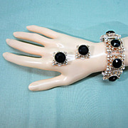 SALE Retro Black and White Rhinestone Bracelet and Earrings