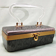 1950's Lucite Box Purse Marbled Smokey Gray and Brass