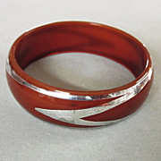1930's Sterling Silver Lucite Bangle Bracelet