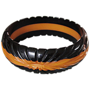 Carved Black Butterscotch Bakelite Bangle Bracelet