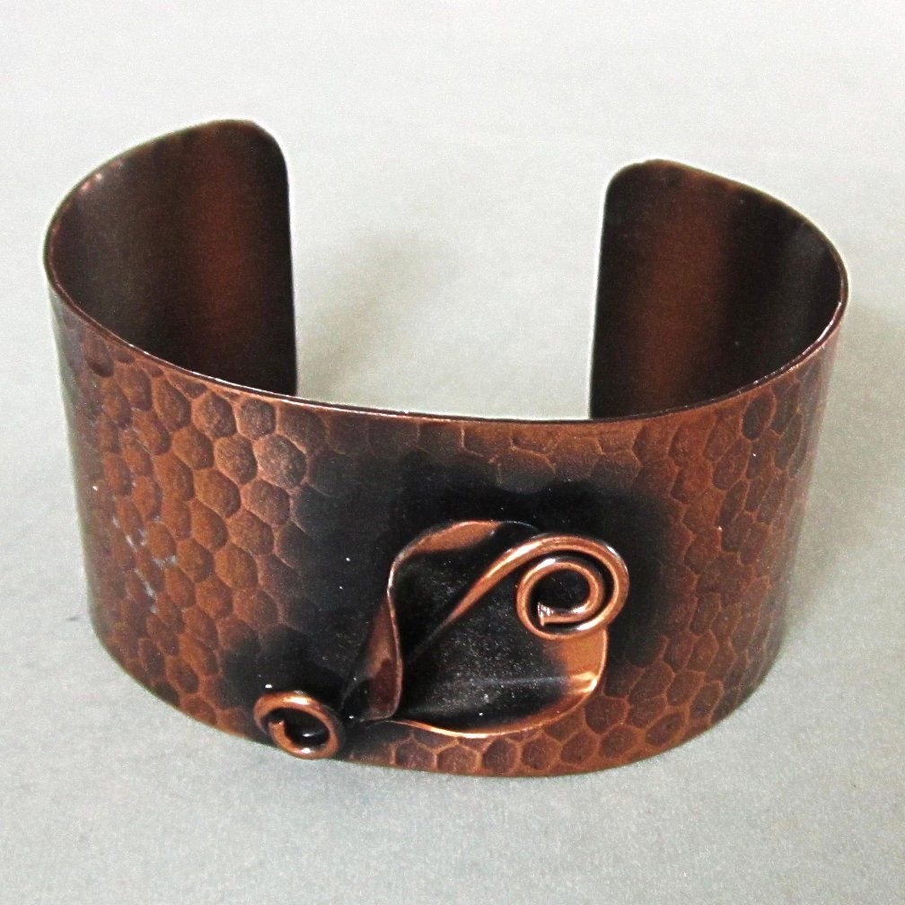 Modernist Hammered Copper Cuff Bracelet