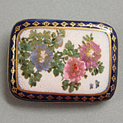 Japanese Satsuma Brooch Large Floral Painting