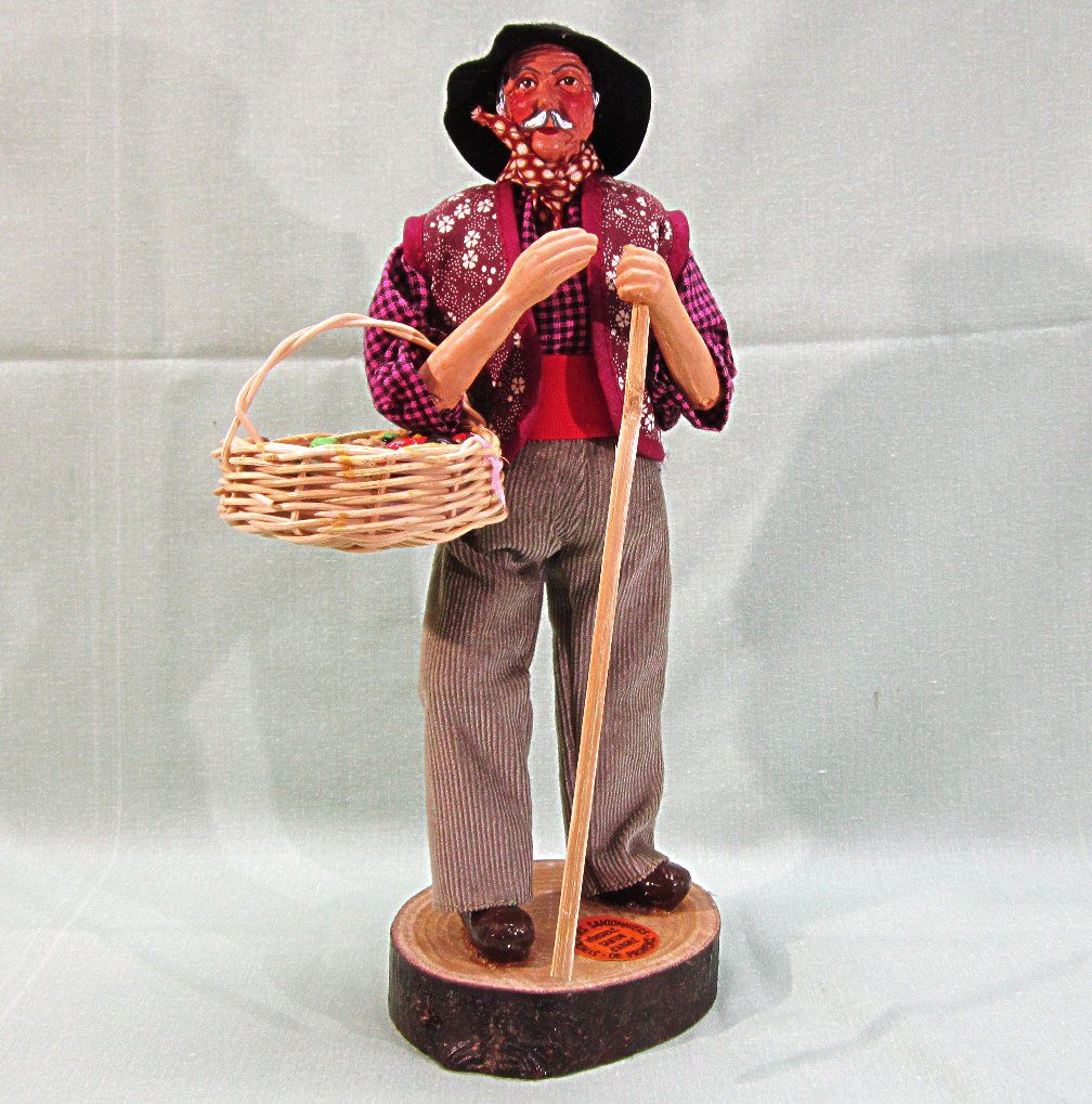 French Santon de Provence Clay Figure Doll Fruit Peddler