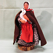 SALE French Santon de Provence Clay Figure Doll Lady with a Lamb