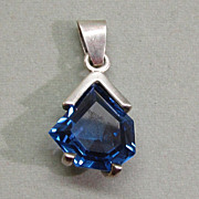 SALE Modernist Mexican Sterling Silver Blue Spinel Pendant