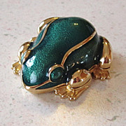 SALE PENDING Estee Lauder Solid Perfume Compact Green Enamel Frog White Linen