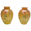 Pair Cased Vaseline Glass Vases Handpainted Enamel Daisies
