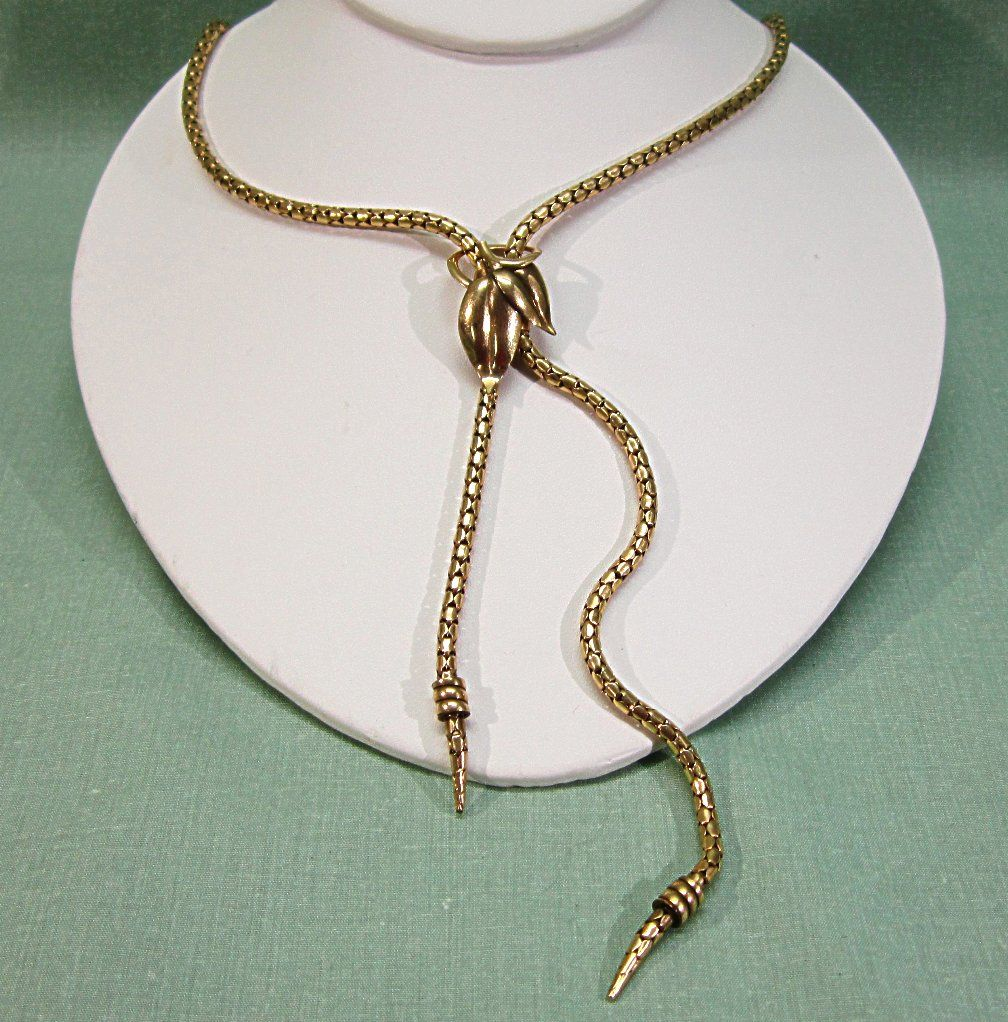 Art Deco  Bigney Co Snake Chain Gold Filled Slide Lariat Necklace