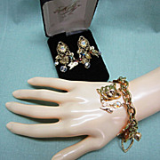 Vintage Kirks Folly Bracelet and Earrings Cats Hearts and Crystals