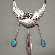 Navajo Sterling Silver Turquoise Feather Necklace by Paula Armstrong