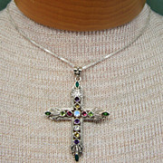 Vintage Large Sterling Silver and Gemstone Cross Pendant