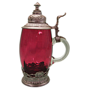 SALE Vintage Cranberry Glass Stein