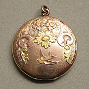 Old Elgin American Gold Shell Locket Birds and Flowers