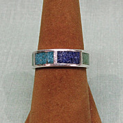 Coleman Co Sterling Silver Inlaid Turquoise Ring