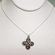 Sterling Silver Cross Pendant Heart Motif