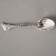 Sterling Silver Spoon Grizzly Bear and Poppies