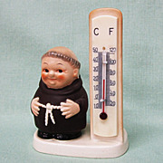 SALE PENDING Goebel Friar Tuck Monk Thermometer Stylized Bee Tmk 3