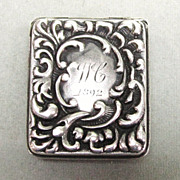 Victorian Sterling Silver Repousse Stamp or Patch Box
