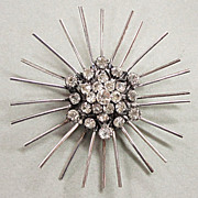 Sterling Silver Atomic Retro Starburst Pin Marked with a Palm Tree