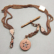 Victorian Watch Chain with Slide and Locket