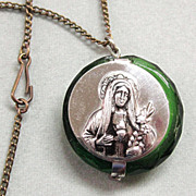 Catholic Miniature Rosary in Green Glass Case Blessed Virgin Mary
