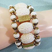 Miriam Haskell Cream and Goldtone Memory Flexible Bracelet