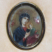 Miniature Painting Madonna and Christ Child on Celluloid in Leather Tryptic Case