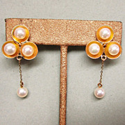 Sterling Silver Gold Was Trefoil Cultured Pearl Earrings