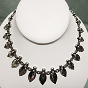 N E From Danish Sterling Silver Art Nouveau Leaf Petal Necklace