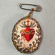Very Old French Silk Embroidered Medal Scapular Sacred Heart of Jesus