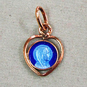 Catholic Tiny Enamel Gold Filled Medal Our Lady Of Lourdes