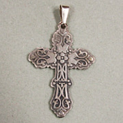 Old Ornate Sterling Silver Cross From Mexico