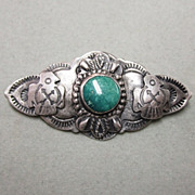 Very Old Native American Sterling and Turquoise Pin Eagles