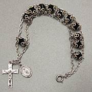 Catholic Sterling Silver and Faceted Black Glass Rosary Bracelet Chaplet