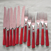 Vintage Red Butterscotch Marbled Flatware Eleven Pieces