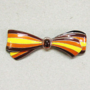 Dainty Sterling Silver Enamel and Amber Bow Pin