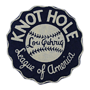 1930s Lou Gehrig Knot Hole League of America Baseball Fan Club Patch. Vintage Original Rare