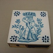 Match Safe Holder Flow Blue & White Tile